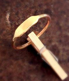 14k Gold Thin Signet Ring. Rectangular Gold Ring.  by shmukies