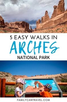 These 5 easy walks in Arches National Park are great for families traveling with small kids. You'll get up close to the Arches and some even have fun features for kids. Don't miss these family friendly hiking trails in Arches National Park Utah! Baby Hiking, Hiking With Kids, Travel With Kids, Family Travel, Family Vacations, Family Adventure, Adventure Travel, Arches Np, Travel Photographie