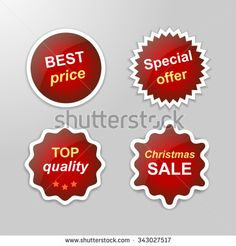 Set of glowing vector stickers with Christmas Sale theme - red | http://www.shutterstock.com/g/ajinak