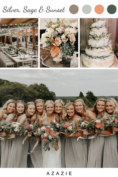 Silver, Sage & Sunset Bridesmaid Dress Color Palette : Classic Silver bridesmaid dresses are set against a backdrop of lush greenery and a pop of sunset color for this gorgeous and unique wedding color palette. Silver Bridesmaid Dresses, Bridesmaid Dress Colors, Wedding Dresses, Bridesmaids In Boots, Fall Wedding Bridesmaids, Sage Wedding, Spring Wedding, Dream Wedding, Grey Tuxedo Wedding