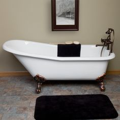 67' Collin Cast Iron Slipper Clawfoot Tub (Chrome Imperial Feet / Rolled Rim / No Tap Holes)- Code 109692