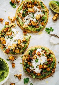 New favorite paleo lunch idea these roasted veg cauliflower pitas with avocado crema. The pitas are made with cauliflower and eggs and taste amazing Topped off with roasted vegetables and the best avocado crema that will change your life Pastas Recipes, Lunch Recipes, Paleo Recipes, Easy Recipes, Dinner Recipes, Avocado Recipes, Chef Recipes, Delicious Recipes, Soup Recipes