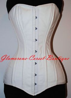 44173602cd LONG Cotton Steel Corset 26 Steel Bones Double Boned LONG TORSO Shaper XS -  3XL