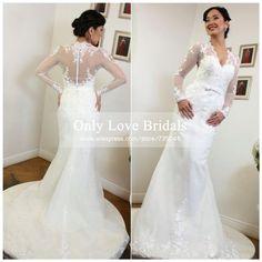 Vestido De Noiva 2015 Cheap Romantic Mermaid Wedding Dress Sheer V-Neck Lace Long Sleeve Appliques Zipper Back Wedding Dresses