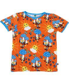 Smafolk funny happy sun and mushroom printed T-shirt. smafolk.en.emilea.be