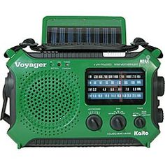 Kaito® Green Voyager™   Solar and/or hand-cranked radio, lamp, flashlight, emergency light, charging station.