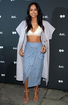 Karrueche Tran in Topshop bralette and Boutique skirt