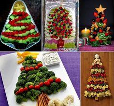 Christmas-tree-themed food platters