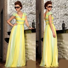 New Yellow Lime Cap Sleeve Bohemian Beach Ball Gowns Pageant Dresses SKU-122252