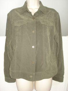 Allison Taylor Womens Shirt Olive green Stretch Long Sleeve Sz M #AllisonTaylor #ButtonDownShirt #Casual