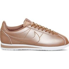 NIKE Classic Cortez OG metallic trainers ($81) ❤ liked on Polyvore featuring shoes, sneakers, nike shoes, patterned shoes, training shoes, sports shoes and rose shoes