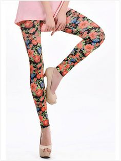 Free Shipping Cheap High Waist Leggings Floral Fitness Sexy Legging Pants Polyester Spandex Leggings For Women LC79262