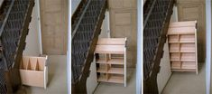 Great way to use that under stair space without having to completely tear out the stairs. Would be a great place to hide shoes if it were near a doorway!