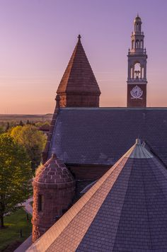 """""""My Campus - Alain Wider, University of Vermont, Vermont, USA; This picture shows the roof of the Ira Allen Chapel, as seen from the fire escape staircase outside Williams Hall at the UVM campus. It is customary for UVM students to climb these stairs in order to enjoy the sunset over Burlington and Lake Champlain. The University of Vermont is surrounded by a beautiful and charming town, as well as riveting land- and waterscapes."""" #studyabroad #usa #vermont"""