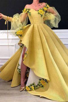 Long Prom Dresses Evening Dresses Off the Shoulder Formal Dresses Cute Prom Dresses, Ball Dresses, Elegant Dresses, Pretty Dresses, Amazing Dresses, Yellow Wedding Dresses, Dresses Dresses, Pretty Outfits, Summer Dresses