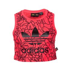 Adidas Women's Dear Baes Crop Tank, Red ($20) ❤ liked on Polyvore featuring tops, red, adidas singlet, adidas tank top, floral print tank top, slimming tank top and graphic crop tops