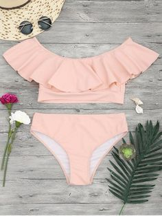 $21.99 Ruffle Off The Shoulder Bikini Set - ORANGEPINK M