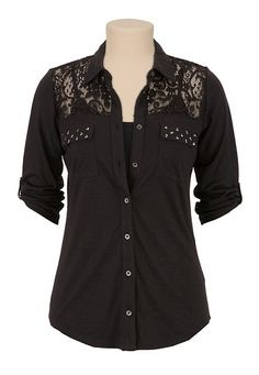 Stud Pocket Lace Shoulder Button Down Shirt (original price, $29) available at #Maurices