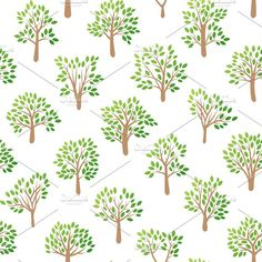 Tree seamless pattern vector Graphics Tree seamless pattern with green leaf natural branches graphic. Vector illustration abstract decorat by Vectorstockerland