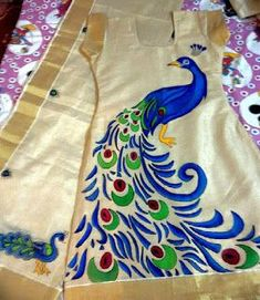 Color yor dreams n memories with avanthika, whatsapp to or email to avanthikamural. Hand Painted Sarees, Hand Painted Fabric, Fabric Art, Fabric Painting On Clothes, Dress Painting, Peacock Painting, Silk Painting, Saree Painting Designs, Fabric Paint Designs