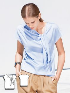 This knotted blouse is actually a great pattern choice, even for beginners! The cut-on bands of the top add to the boule look and can either be draped casually or tied according to personal preference. #burdastyle #sewing #sew #diy