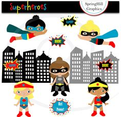 Superhero Girls Digital Clip Art Web Design, Card Making, Scrapbooking, Kawaii - Personal and Commerical Use. $5.00, via Etsy.