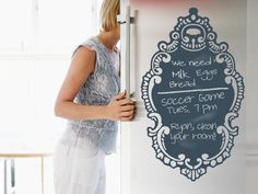 Rococo Chalkboard Decal So pretty and organized.