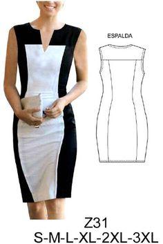 Z31 Vestido, ajustado. Telas elasticadas, punto roma, lycra nylon. Consumo talla L: Negro: 1 mt. Crema: 1 mt. Aprox.