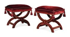A pair of Louis XVI style red velvet and close nailed tabourets by Jacques Garcia modern with curved X-frame supports
