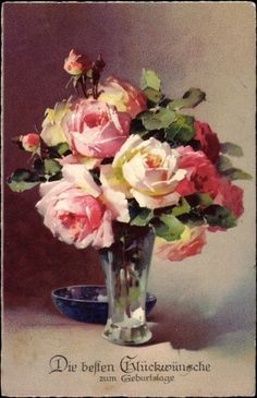 "Artist Catherine Klein was born in Berlin, Germany on November She attended the Art School in Berlin and painted flower pictures, eventually in ""gouche"" (opaque watercolor). Catherine Klein, Rose Pictures, Rose Art, Arte Floral, Anime Comics, Botanical Illustration, Beautiful Paintings, Vintage Flowers, Art Oil"