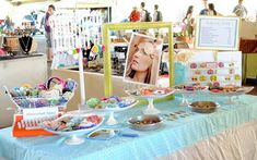 ideas for organizing a craft booth.  Like the cake pans & the green window