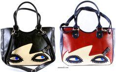 Lulu Guinness Design Wanda Doll Face Bag Shoulder Handbag Black Red Celebrity