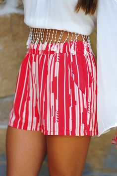 Lines Of Envy Shorts: Bright Red