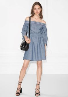 & Other Stories image 2 of Smocked Embroidered Dress in Blue chambray