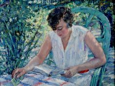 Mulher sentada no jardim, 1926 Rudolf Tewes (Alemanha, 1878-1964) óleo sobre placa de madeira, 49 x 64 cm