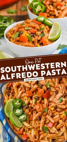 An easy dinner recipe in 30 minutes! Made in just one pot, this Southwestern Alfredo Pasta is the perfect busy weeknight meal. It doesn't get any simpler or more delicious than this! Save this pin! Easy Dinner Recipes, Pasta Recipes, Yummy Recipes, Great Recipes, Dinner Ideas, Yummy Food, Easy Weeknight Dinners, Easy Meals, One Pot Meals
