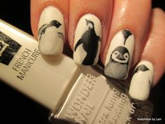 Nailphotos by Lani: Penguin nails - freehand nailart - inspired by Stefan Christmann photos