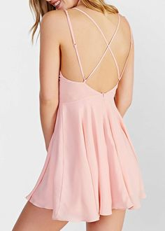 Vestido con tirante cruzado-rosado 10.79