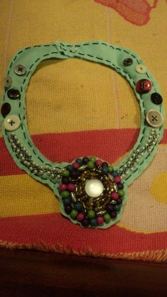 Handstitched Necklace with Giant Centerpiecce--$15