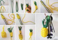 """Dieses Tutorial wurde mir von Leslie Steiner zur Verfügung gestellt, sie gab mir freundlicher Weise ihre Erlaubnis dieses hier einzustellen. """"Vielen Dank dafür!"""" So hier meine Anleitung für die Ananas Material ungefähr für eine Größe von ~3×2,5cm -ohne Grünzeug: Gelb ohne Seelen: 155 cm Gelb mit Seelen: 30cm (-Innenleben) Grün ohne Seelen: 51 cm 1) Seelen entfernen …"""