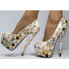 a15bb19265ce0 Floral Heels Round Toe Cone Heels Platform Pumps High Heel Shoes