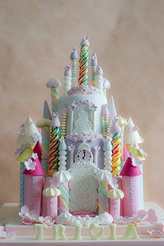 Rainbow Castle cake, via Flickr.