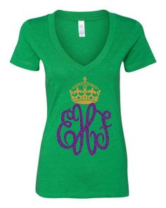 Positively precious for the parades! Vibrant green Deep V neck T-shirt from Next Level Apparel, in a feminine fit, custom made with Purple and