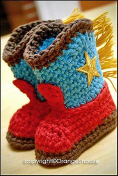 Crocheted Cowboy Boot Slippers