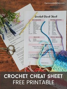You can read crochet patterns! Read my top tips for deciphering and reading crochet abbreviations, repeats and more. Plus a FREE cheat sheat! Crochet Abbreviations, Crochet Stitches, Double Crochet, Single Crochet, Crochet Projects, Crochet Tutorials, Crochet Videos, Crochet For Beginners