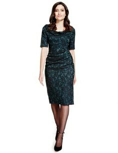 Marks and Spencer Per Una Jacquard Lace Shift Dress (Teal)