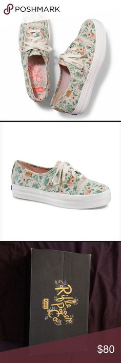 Rifle Paper Co Keds size 6 Rifle Paper Co Keds Wildflower size 6. These are sold out online and unfortunately I was unable to exchange them for the correct size. I typically wear a 6.5 so I'd say the run true to size, maybe just a tad narrow. Super cute shoes! They are listed higher because I would like to try to make my money back on them. Keds Shoes
