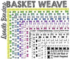 Doodle Borders: Basket Weave Clip Art Frames - Use commercially with NO link-back required!