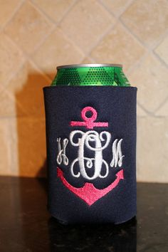 Monogrammed Anchor Koozie by SweetandSimpleStitch on Etsy, $7.00