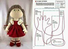 ARTE COM QUIANE - Paps,Moldes,E.V.A,Feltro,Costuras,Fofuchas 3D: boneca de pano